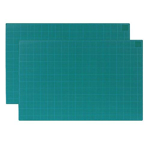 GKS Professional Self-Healing Double Sided Rotary Cutting Mat, Long Lasting Thick Non-Slip Mat for Quilting, Sewing and All Arts & Crafts Projects (Green, A2)