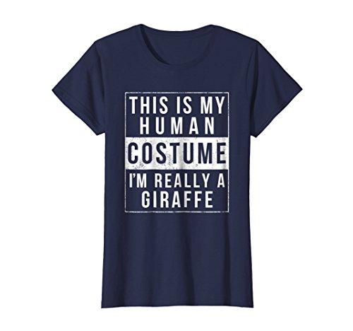 Womens Giraffe Halloween Costume Shirt Funny Easy for Kids Adults Medium Navy