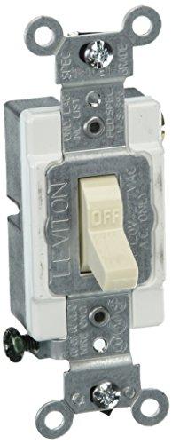 (Leviton CS115-2T 15 Amp, 120/277 Volt, Toggle Single-Pole Ac Quiet Switch, Commercial Grade, Grounding, Light Almond)