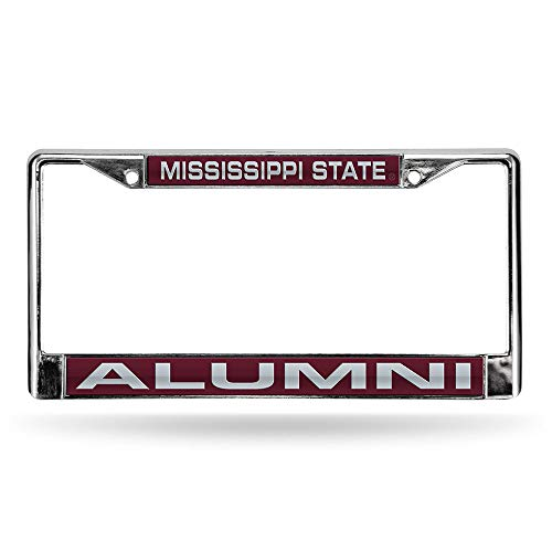 Rico Industries NCAA Mississippi State Bulldogs Laser Cut Inlaid Standard License Plate Frame, Chrome, 6