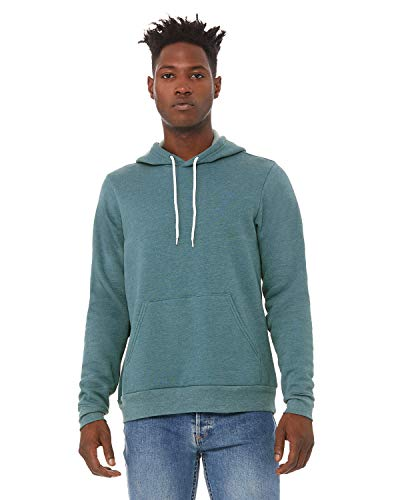 Bella+Canvas Men's Sponge Fleece Pullover Hoodie, HTHR DEEP Teal, Large