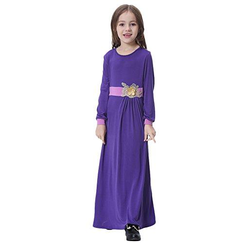 irl Muslim 3D Flower Applique Abaya Jilbabs Long Sleeve Hijabs Maxi Dress Full Length Clothes XXXL ()