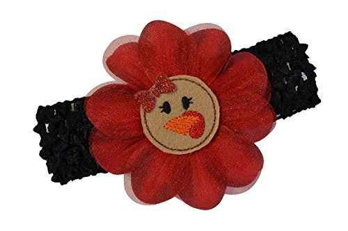 Little Turkey Baby Costume (Baby and Toddler Girls Turkey Flower Crochet Headband (Black Band with Red Flower))