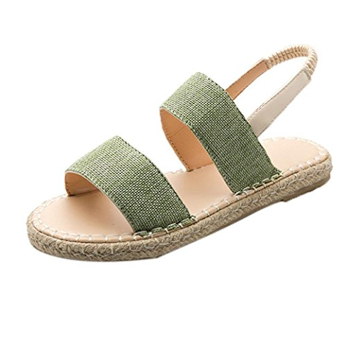 SUKEQ Women's Open Toe Espadrilles Sandals Double Band Strap Slingback Flat Heel Denim Sandal Shoes (5.5 B(M) US, ()