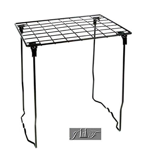 (Freestanding Folding and Stackable Wire Locker Shelf Black (12