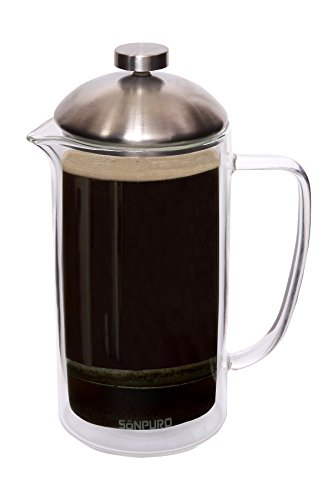 Sonpuro French Coffee Press 34oz (8cup)-Double Wall Insulated Borosilicate Glass Premium Coffee Press & Tea Maker- Microwave Safe Carafe- Enhanced Filtration for Easy Brewing and Original Taste (Tea French Press Carafe)
