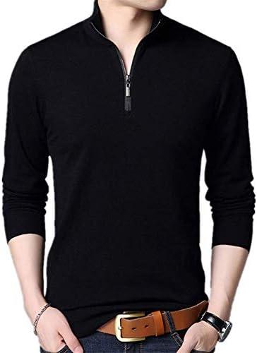 メンズジッパーカラーセーターソフト暖かく快適な長袖無地セーターカジュアルファッションメンズ秋と冬のニットセーター
