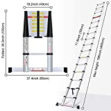 WolfWise 15.5FT Aluminum Telescoping Ladder with