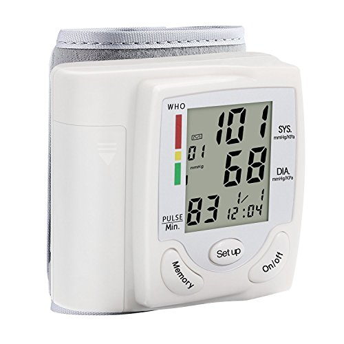Automatic Wrist Blood Pressure Cuff Monitor with Large LCD Display and 90 Memory Capacity