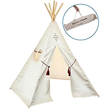 Kids Teepee Tent by Nature's Blossom. Large 100% Cotton Canvas 6 Feet Tipi with Five Poles, Window & Carry Bag. Foldable Playhouse For Indoor or Outdoor Play. Popular Gift for Thanksgiving & Christmas