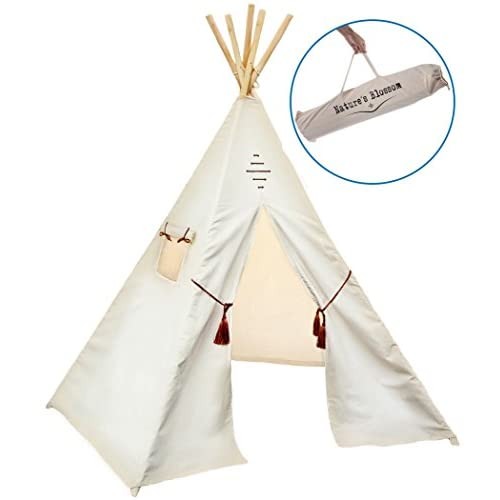 Natures Blossom Kids Teepee Tent By Large 100 Cotton Canvas 6 Feet