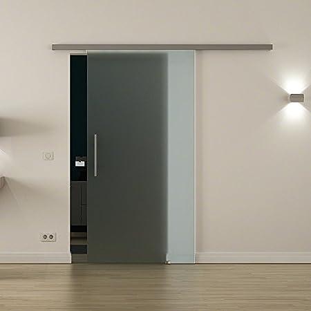 Cristal-puerta corredera para uso en interiores con cierre-sistema LEVIDOR - ancho cristal: 900 mm Altura: 2050 mm - Cristal: Totalmente satinado/vidrio esmerilado con barras de agarre de alta calidad