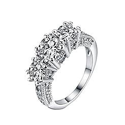 New Zircon Silver Ring, Onefa European a...