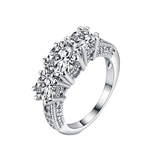 XBKPLO Rings for Women European and American Fashion Inlaid Zircon Silver Three Diamond Ladies (Baguette Ring Sides)