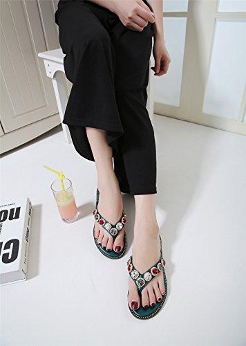 LIVY 2017 verano nuevas señoras de lujo del Rhinestone de las sandalias de los deslizadores de la moda femenina Green