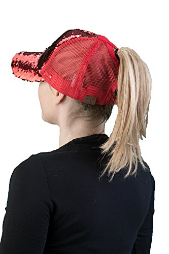 H-209-MS-4201 Messy Bun Ponytail Hat - Sequin (Red/Silver) Red Hat Purple Sequin