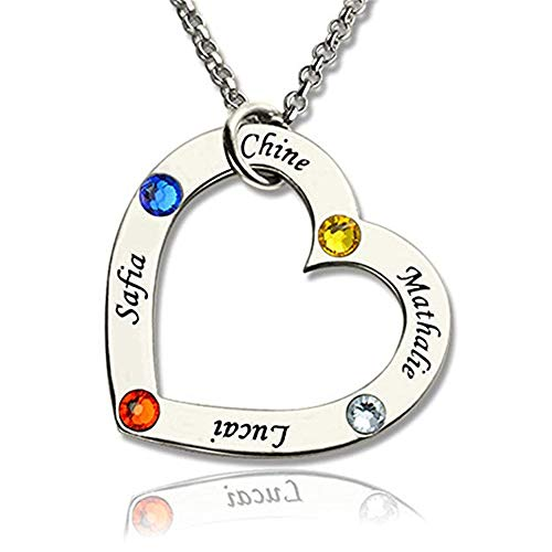 brcx Personalized Necklace Love Heart Friend Necklace Family Pendant with Birthstone-Made with Any Name(Sliver-18)
