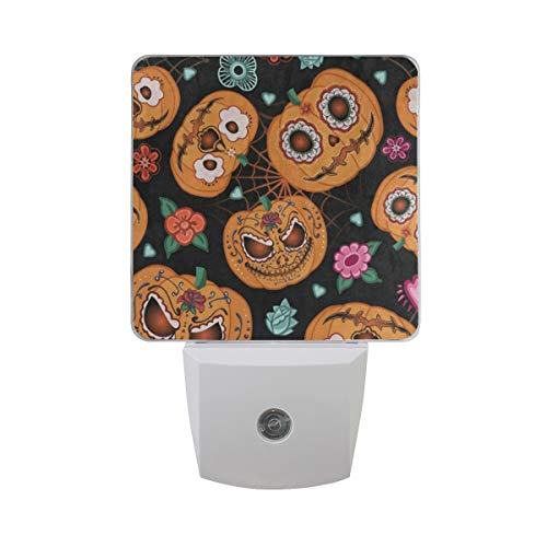 Night Light Hipster Pumpkin Face Halloween Floral Led Nightlight Lamp for Hallway, Kitchen, Bathroom, Bedroom, Stairs, DaylightWhite, Bedroom, Compact Set of 2]()