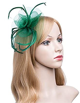 Cizoe Fascinators Hat for Women Tea Party Headband Kentucky Derby Wedding Cocktail Flower Mesh Feathers Hair Clip