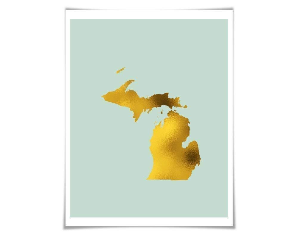 Gold In Michigan Map.Amazon Com Michigan Map Gold Foil Art Print Gold Silver Copper