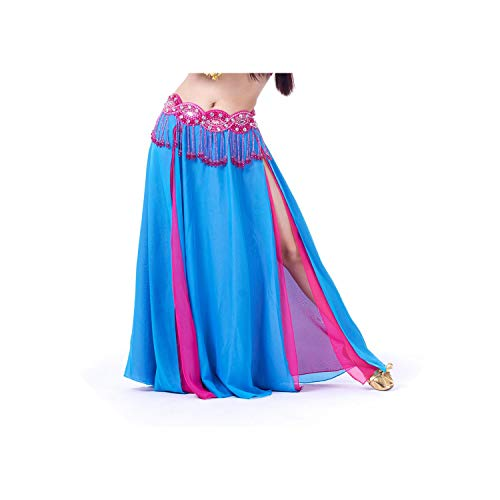 Long Maxi Skirts Lady Belly Dance Skirts Women Sexy Oriental Belly Dance Skirt,Brown,One Size -
