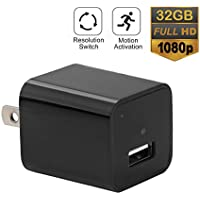 Hidden Spy Camera USB Charger, 32GB 1080P HD Motion Activated Security Wall Charger Nanny Camera for Home and Office Surveillance [Latest Version]
