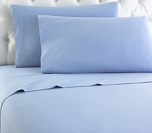 Empire Home Heavy Winter Flannel 100% Cotton Sheet set Fitted Flat Pillow Cases Deep Pocket (Light Blue, King - Flannel Sheets Target