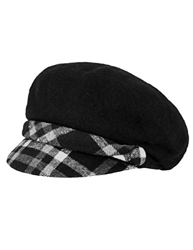Dahlia Women's Wool Blend Newsboy Hat - Belt Accent Plaid Visor - Black