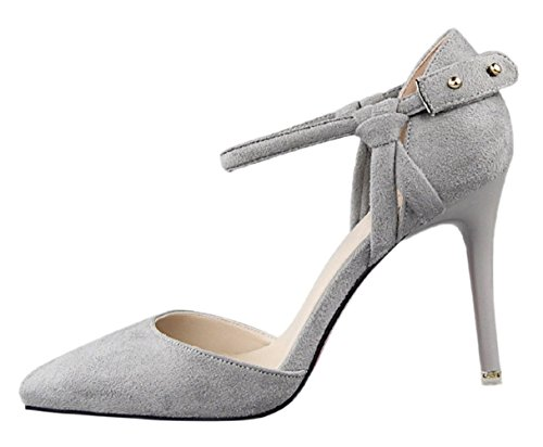 HooH Women's Fabric D'Orsay Stiletto Buckle Wedding Sandals Grey bZAsl8l7l