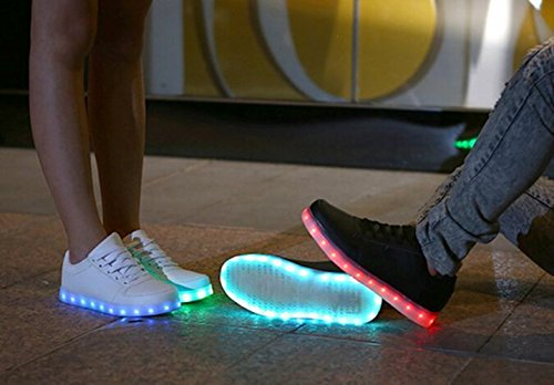 [Presente:pequeña toalla]JUNGLEST (TM) Unisex 7 Colors USB Carga LED Luz Luminosas Flash Zapatos Zapatillas de Depo c40