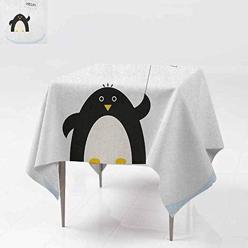 (DUCKIL Easy Care Tablecloth Arctic Animals Theme Penguin on an Ice Block Needs Help Illustration Excellent Durability W60 xL60 Black White and Sky)
