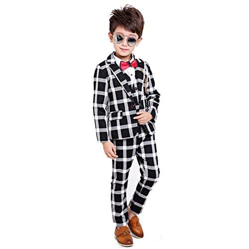 Gele Boy 4 Pieces Plaid Formal Suit Set,Vest+Pants+Blazer+Bow Tie (8, Black) (Suit Cotton Plaid)