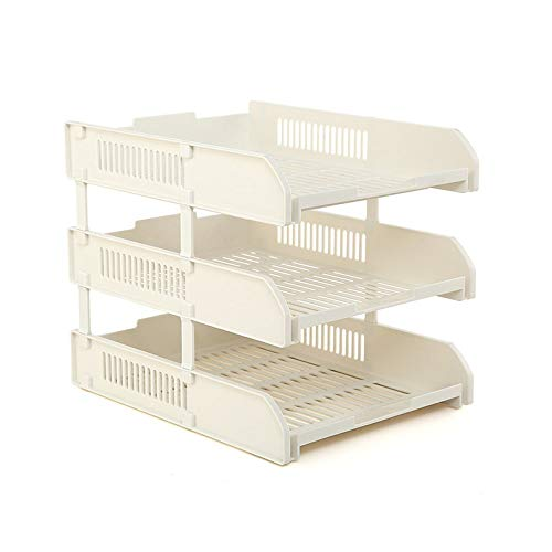 Laundry Storage Bucke Bookcase by Multi-Layer Office Supplies Document Shelf Data Storage Rack Desktop Archives,Beige-ThreeFloors t for Bedroom Bathroom (Color : Beige, Size : - Archive Toilet