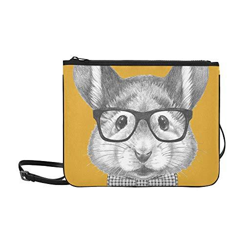 Portrait Mouse Glasses Bow Tie Hand Custom High-grade Nylon Slim Clutch Bag Cross-body Bag Shoulder Bag