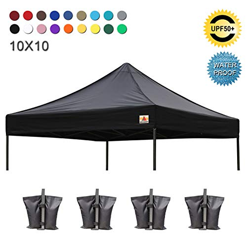 - ABCCANOPY Replacement Top Cover 100% Waterproof (18+ Colors) 10x10 Pop Up Canopy Tent Top, Bonus 4 x Weight Bags (Black)