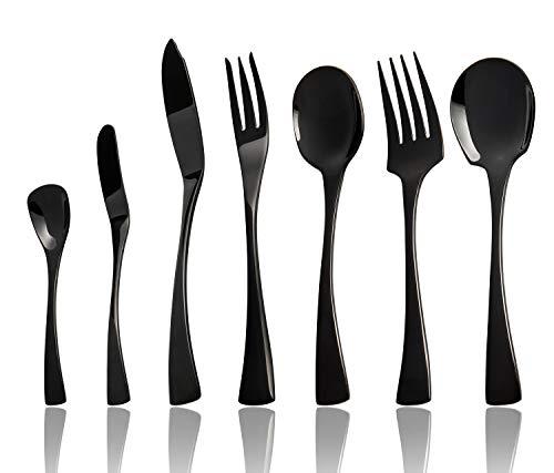 Black Serving utensils set. Stainless Steel Hostess Flatware Sets 7-Piece Includes Silverware Large Salad Serving Spoons, Forks & Slotted Spoons,sugar spoons,butter knife.Dishwasher Safe