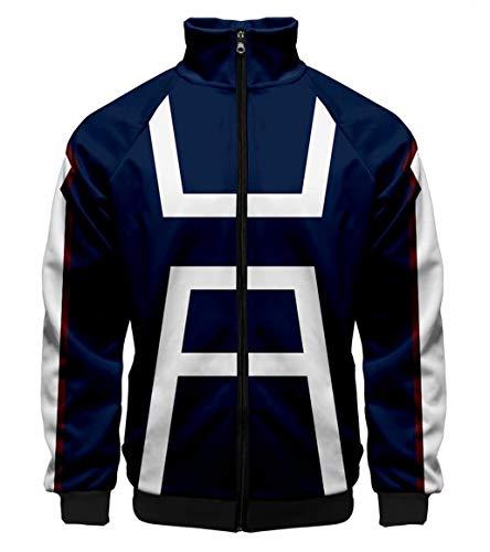 Greed Land My Hero Academia 3D Print Zipper Hoodies Sweatshirts Todoroki Shoto Cosplay Costumes ()