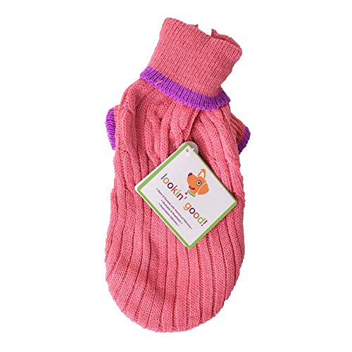 Fashion Pet Cable Knit Dog Sweater - Pink (8 Pack)