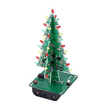 Icstation DIY 3D Christmas Tree Kit With 3 Color Flashing LED For  Electronics Solder Practice Fun
