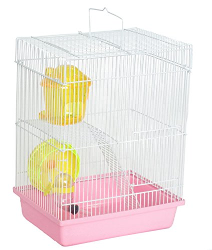 YML Double Stories Dwarf Hamster Cage with Small Wheel/Dish