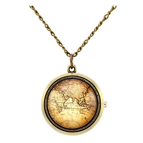 Top Plaza Retro Classic Antique Bronze Fob Pocket Watch Rotatable Hemisphere World Map Vintage Pendant Necklace Analog Quartz Watch with Chain