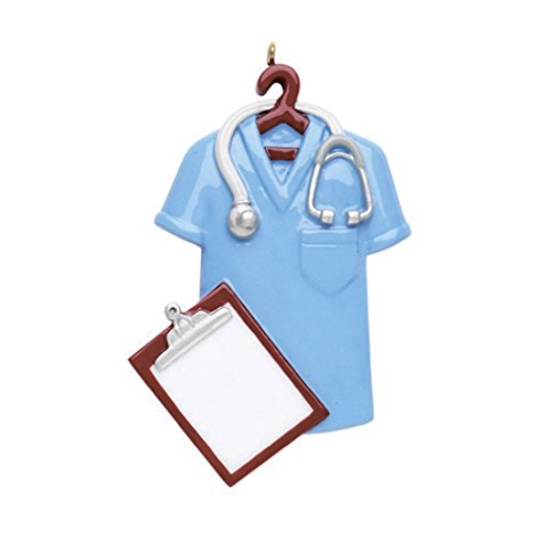 Personalized Blue Scrubs Christmas Tree Ornament 2019 - Nurse Uniform Hanger Stethoscope Practitioner Medical Health Care Prescription Generic Girl Boy New Job Year - Free Customization (Ornaments Christmas Medical)