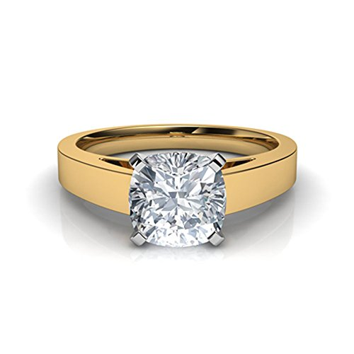 (Silvergemking 1.20Ct Cushion CZ Diamond 14K Yellow Gold Pl Flat Edged Cathedral Solitaire Engagement Ring)