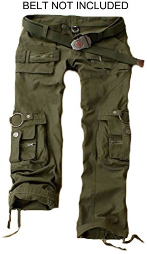 Juicy Trendz Womens Trousers Army Military Ladies Casual Cargo Pants Green M