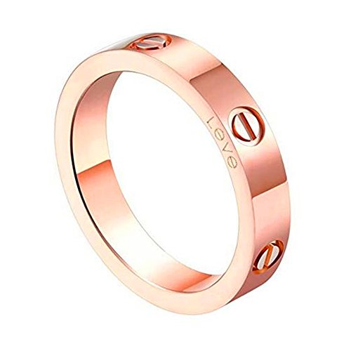- Trozk Fashion Titanium Steel Love Ring - Jewelry Box Packing Wide 5MM Lovers Rings (Rose Gold, 10)