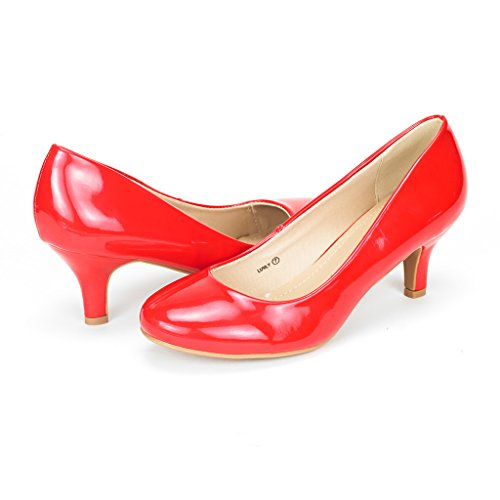 DREAM PAIRS Women's Luvly Red Pat Bridal Wedding Low Heel Pump Shoes - 9.5 M -