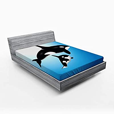 Lunarable Whale Fitted Sheet, Orca Family Mother and Baby Swimming in The Ocean Children Parenthood Theme, Soft Decorative Fabric Bedding All-Round Elastic Pocket, Queen Size, Blue Black White: Home & Kitchen