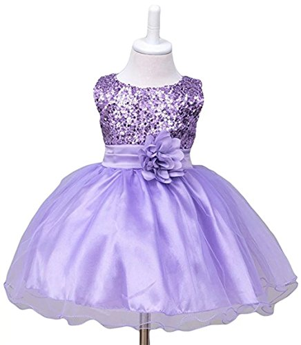c01207adcd ZAH Sequin Mesh Flower Party Wedding Gown Bridesmaid Tulle Dress Little  Baby Girl(B Purple