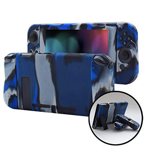 Pandaren Cover Skin Compatible for Nintendo Switch Consoles and Joycon 3in1 Silicone Case with Larger HandGrip Protector(Camouflage Blue)
