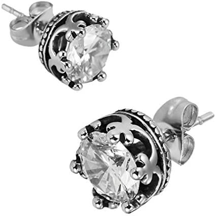 Vintage Royal Crown Mens Stud Earrings Stainless Steel Silver Clear Cubic Zirconia